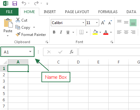 Name Box Excel 2013