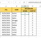Weeknum Excel 2013