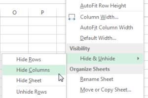Hide Columns Excel 2013