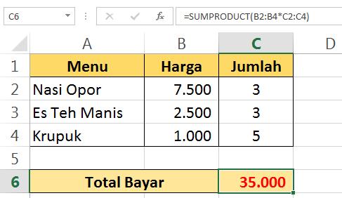 Hitung Total Bayar dengan Excel